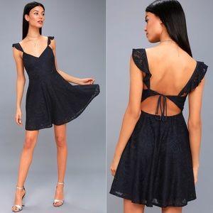 NWT • Lulu's • Navy Lace Backless Skater Dress